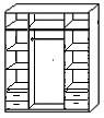 Платяное в центре и бельевые с полками и ящиками по краям.